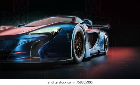 Electric power car. 3d render and illsutration.