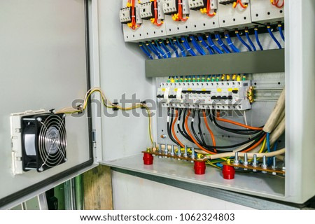 electric power circuit breakers fuse box stock photo (edit now english fuse box electric power circuit breakers are in the fuse box the wires with the terminals are