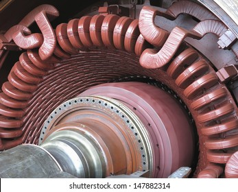 Electric power generator and steam turbine during repair at power plant