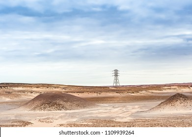 Electric Power Grid in the Sand Desert, Africa