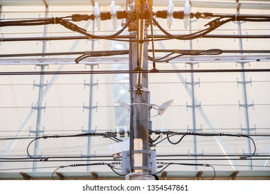 Electric power line tower of railway structure of MRT, Electrification system Railroad overhead lines