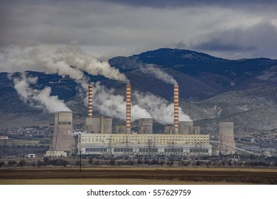 Electric power plant near Kozani city. Kozani - Greece.