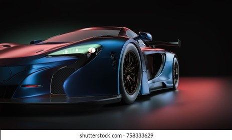 Electric power super car. 3d render and illsutration.