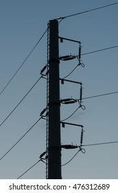 Electric power transmission steel tube tower on blue sky
