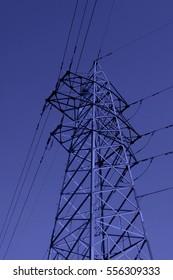 electric power under sky, closeup of photo