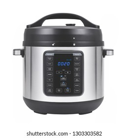 Electric Pressure Cooker Isolated on White. Front View of Modern Stainless Steel 8-in-1 Multi-Use Express Crock Programmable Slow Multi Cooker. Saute and Steamer. Domestic and Kitchen Appliances