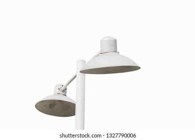 electric public street lamp posts on white background  with clipping path