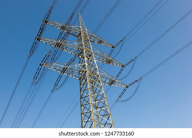 electric pylon with blue sky