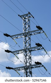 electric pylon in the center of Moscow, Russian