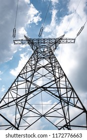electric pylon on the cloudy sky background