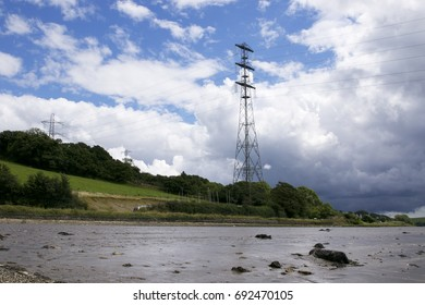 Electric Pylons on river bank