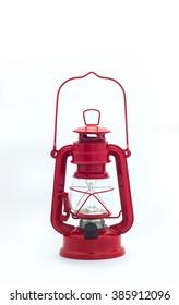 Electric red lantern in kerosene pattern.