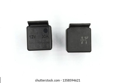 Electric relay, Electrical Auxiliary Relay, Coil Power Relay, magnetic contactor, 12v auto part isolated on white background.