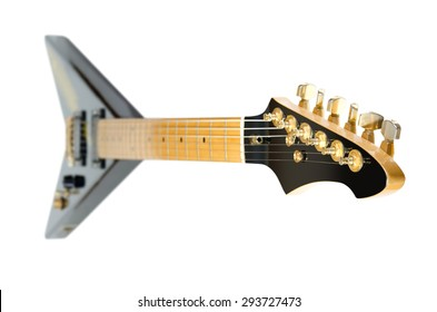 electric rock guitar Flying V on a white background