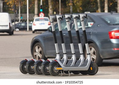 Electric scooters vehicles in the city. Urban mobility, sustainable lifestyle