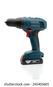 Electric screwdriver 18 Volt. Isolate on white background.