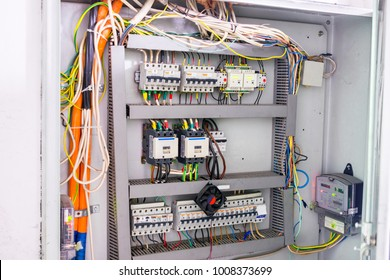 The electric shield with a lot of electromechanical equipment. Power panel distribution of electric current