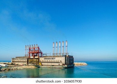 An electric ship which came from turkey to produce electricty for Lebanon in Saida 3 february 2018