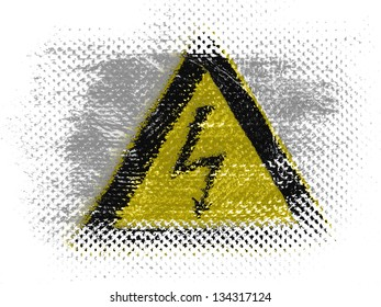 Electric shock sign painted on on dotted surface