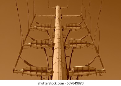 Electric steel rod in the blue sky background, closeup of photo