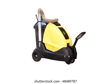 An electric street vacuum or cleaning machine, isolated on white