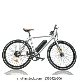 electric stylish bicycle with battery on isolated white background