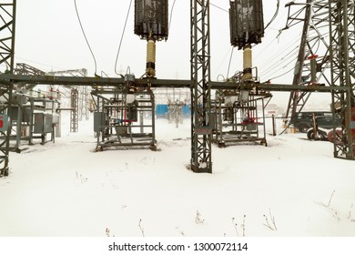 Electric substation in a blizzard.