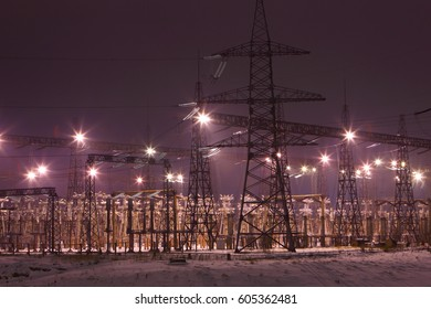 Electric substation at night