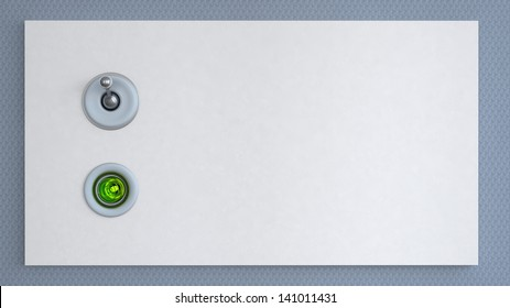 electric switch with signal lamp on the wall in abstract interior. 3D illustration