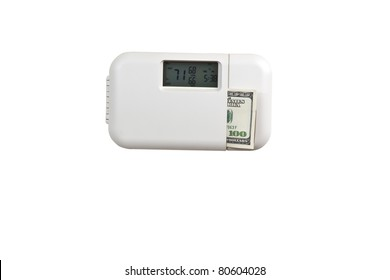 Electric thermostat with currency on white background