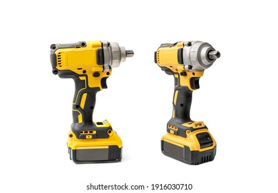 Electric tool ,Power tool ,Mid-Range Cordless Impact Wrench or or Cordless screwdriver with battery on white background
