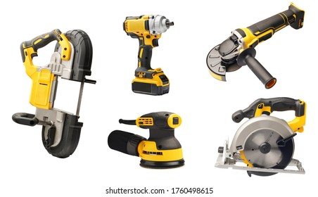 Electric tool set cordless rechargeable screwdrivers , Angle Grinder,circular saws ,cordless band saws,Portable Band Saw on white background