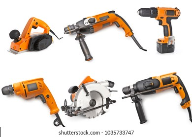 Electric tool set on white background