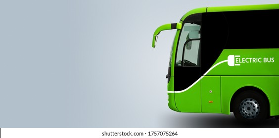 Electric tourist bus on a grey background. Copy space