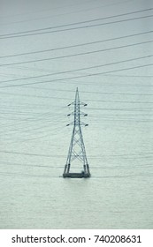 Electric tower passing through the reservoir area