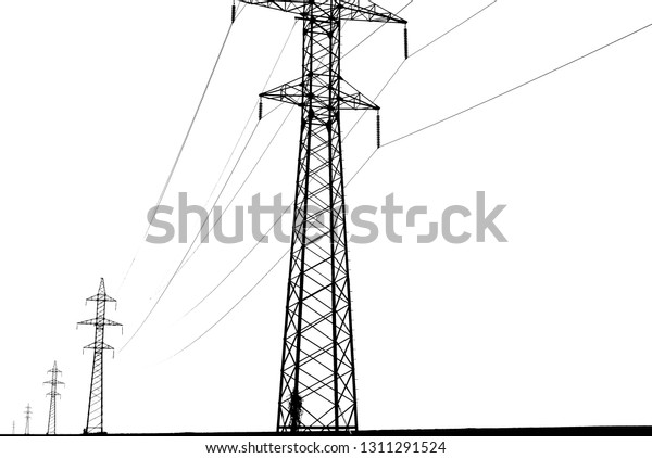 Electric towers and wires isolated