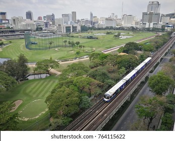 Electric train bts Thailand, March 24, 2017 : Electric bts are running through the city center in Transportation BTS Sky train Business Travel Asia Background Thailand