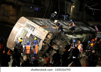Electric Train as Commuter Line number 1722 Tokyu 8512 series with route Jakarta to Bogor derailed in Kebon Pedes, Bogor Regency, Indonesia on March 2, 2019