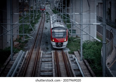 The electric train drives at high speed motion from the station  with passenger and cargo to station destination is modern trasportation concept with sun light sky background