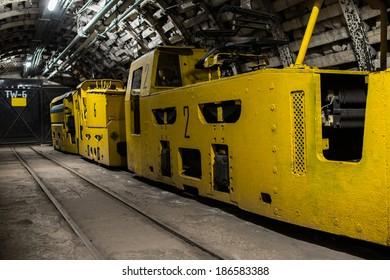 Electric train in modern coal mine