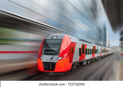 electric train on a blurred background
