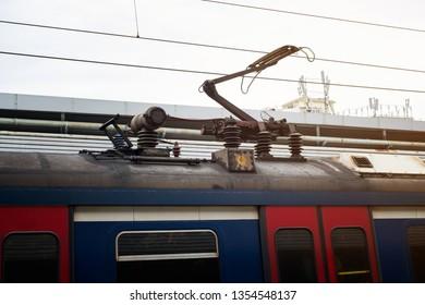 Electric train trolley pole railway electrification system, overhead system