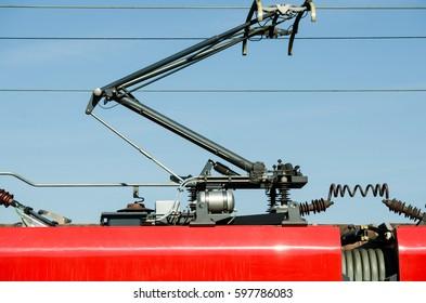 Electric train trolley pole railway electrification system