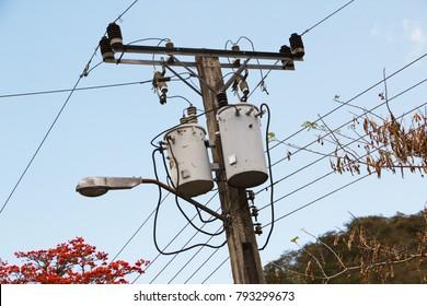 Electric tranformers in Santo Domingo in Cuba