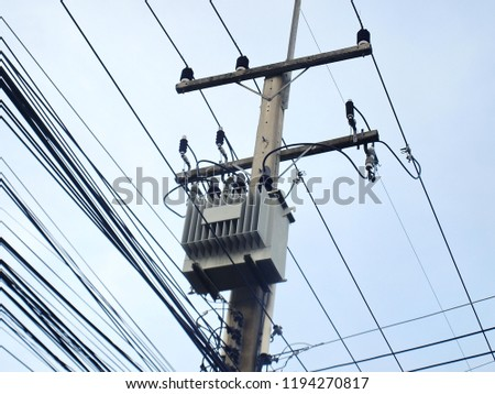 Superb Electric Transformers Wires Installed On Concrete Stock Photo Edit Wiring Cloud Rectuggs Outletorg