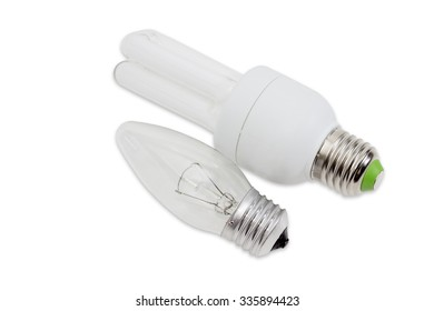 Electric tungsten incandescent light bulb and compact fluorescent lamp tubular type with standard screw bases on a light background. Isolation.