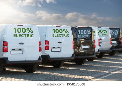 Electric vans parked in a row