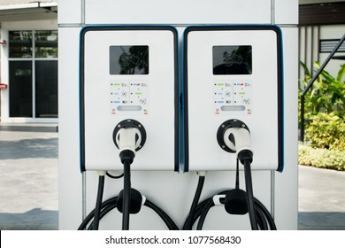 Electric Vehicle Charging (Ev) station with plug of power cable supply for Ev car, Technology EV, Alternative enygy