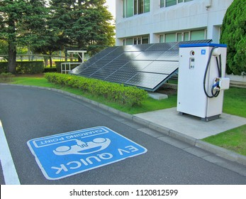 electric vehicle charging (Ev) station  for Ev car on solar cells or photovoltaic panel background.Soft focus.