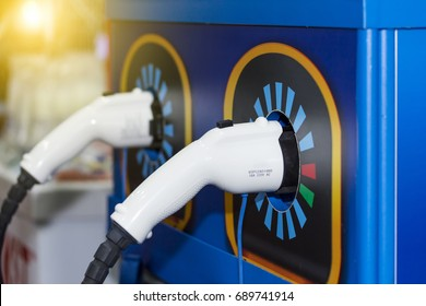 electric vehicle charging (Ev) station with plug of power cable supply for Ev car